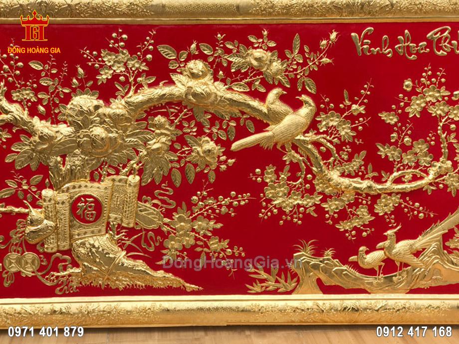 Tranh đồng vinh hoa phú quý mạ vàng 24K nền đỏ 2m26