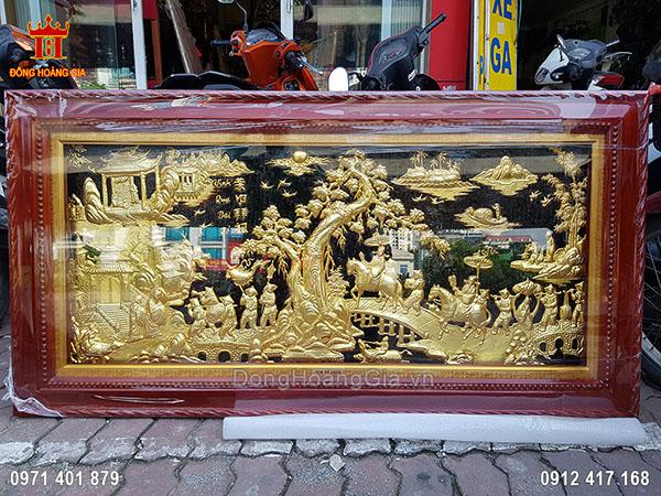 Tranh Đồng Vinh Quy Bái Tổ Dát Vàng 9999 1M55