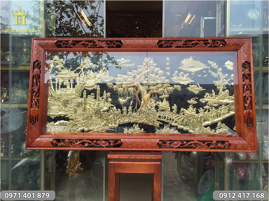 Tranh đồng Vinh Quy Bái Tổ khung gỗ đục