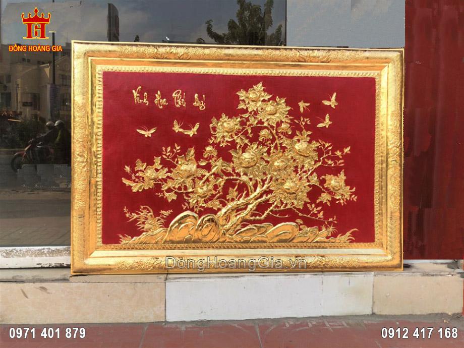 Tranh hoa mẫu đơn khung đồng mạ vàng 24K 1m37