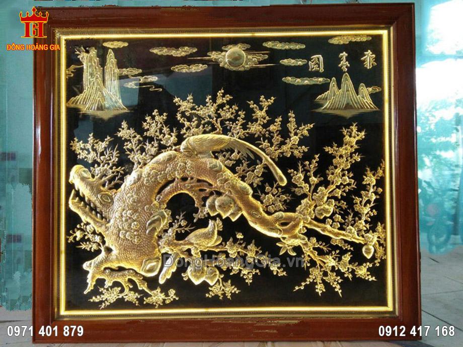 Tranh mai hóa rồng bằng đồng vàng 1m6