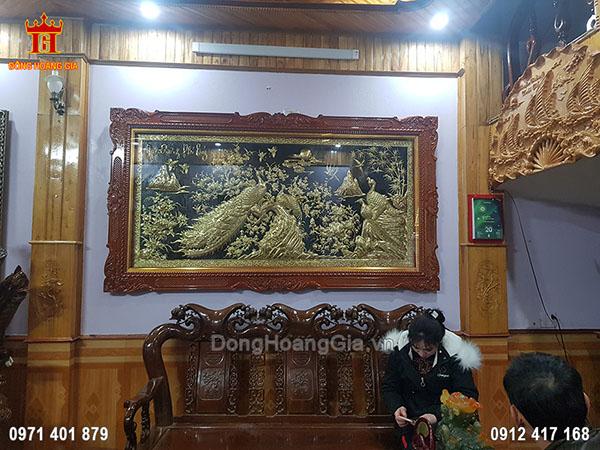 Tranh Ngọc Đường Phú Quý Đồng Vàng Nền Đen 2M35