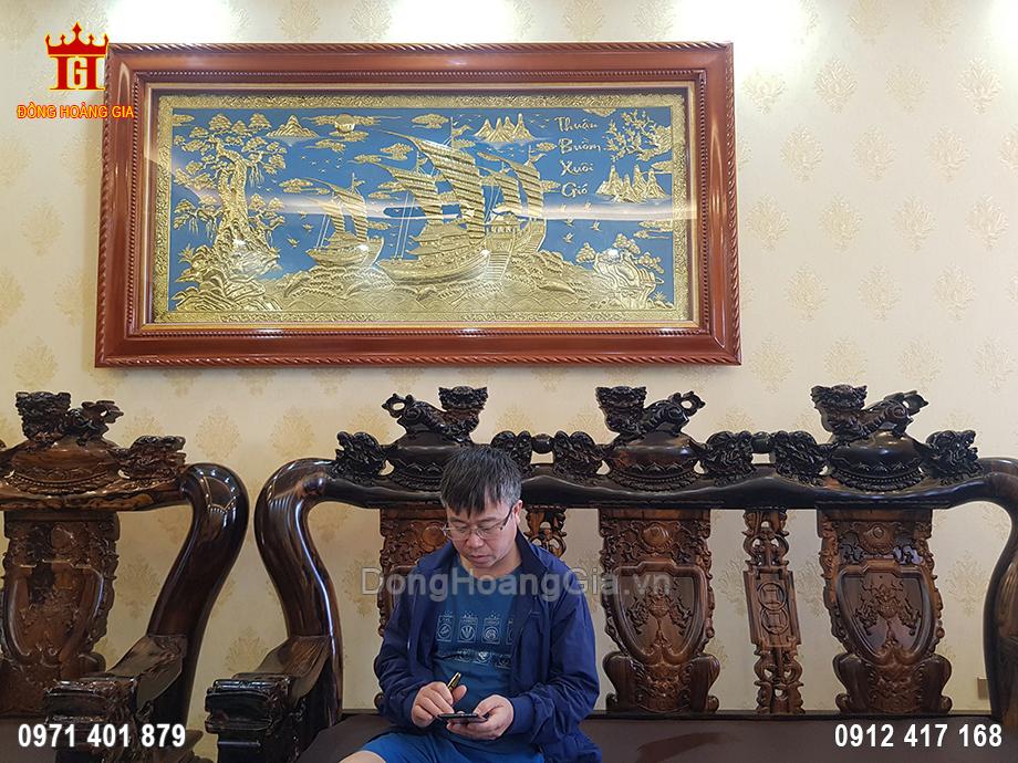 Tranh Thuận Buồm Xuôi Gió Đồng Vàng Cho Khách Ở TP Bắc Giang 2M3