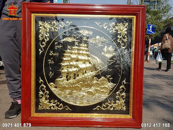 Tranh Thuận Buồm Xuôi Gió Đồng Vàng Nền Đen 90Cm