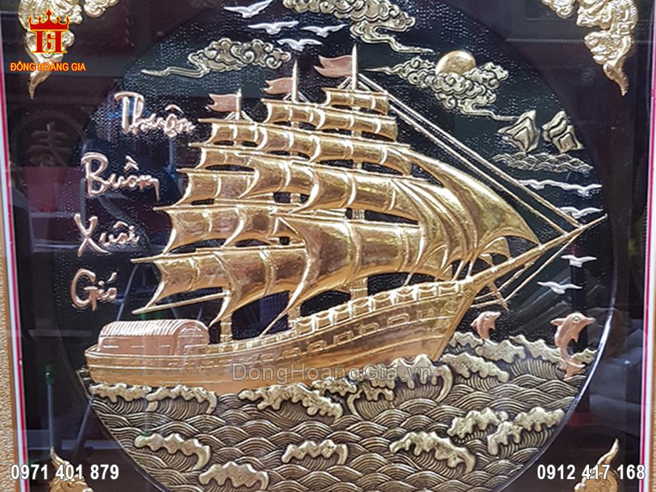 Tranh thuận buồm xuôi gió đồng vàng nền đen