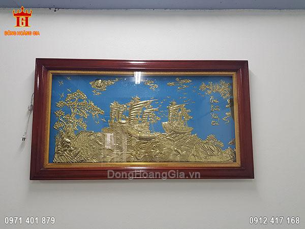 Tranh Thuận Buồm Xuôi Gió Đồng Vàng Nền Xanh 1M55