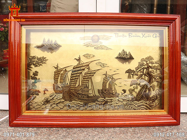 Tranh Thuận Buồm Xuôi Gió Xước Giả Cổ 58Cm