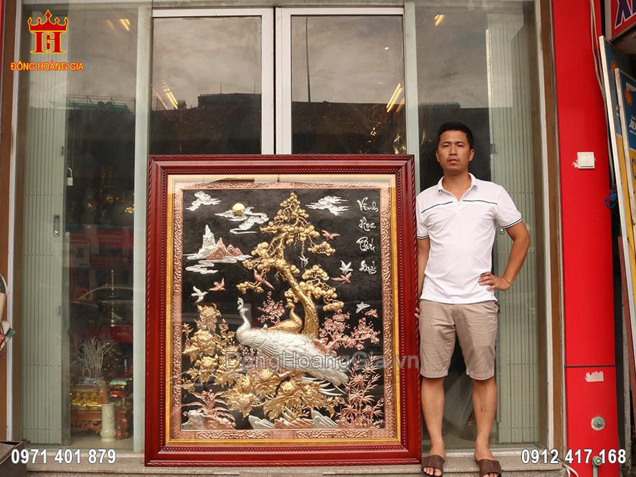 Bức tranh Vinh Hoa Phú Quý khổ đứng mạ tam khí tuyệt đẹp