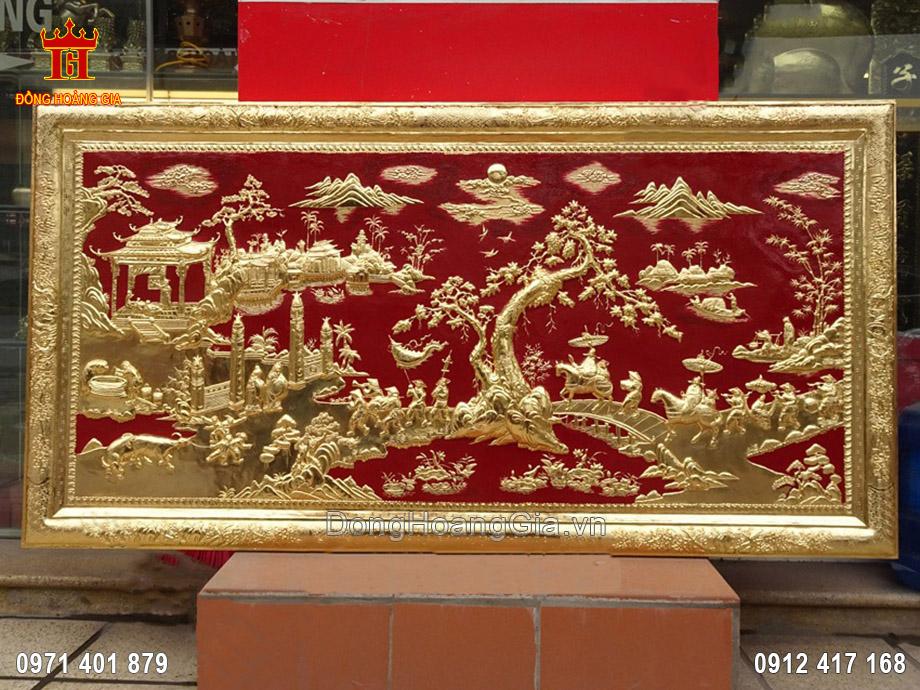 Tranh vinh quy bái tổ khung đồng mạ vàng 24K 1m65