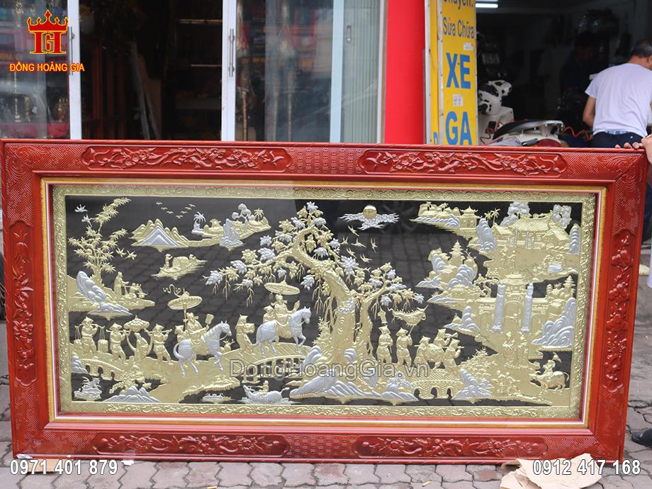 Bức tranh Vinh Quy Bái Tổ mạ vàng bạc 2m3