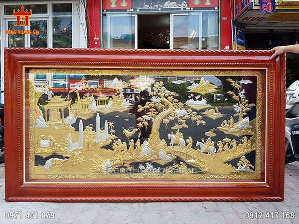Tranh Đồng Vinh Quy Bái Tổ Mạ Vàng Mạ Bạc 2M33