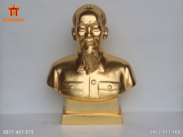 Tượng Bác Hồ bán thân dát vàng 24K 61cm