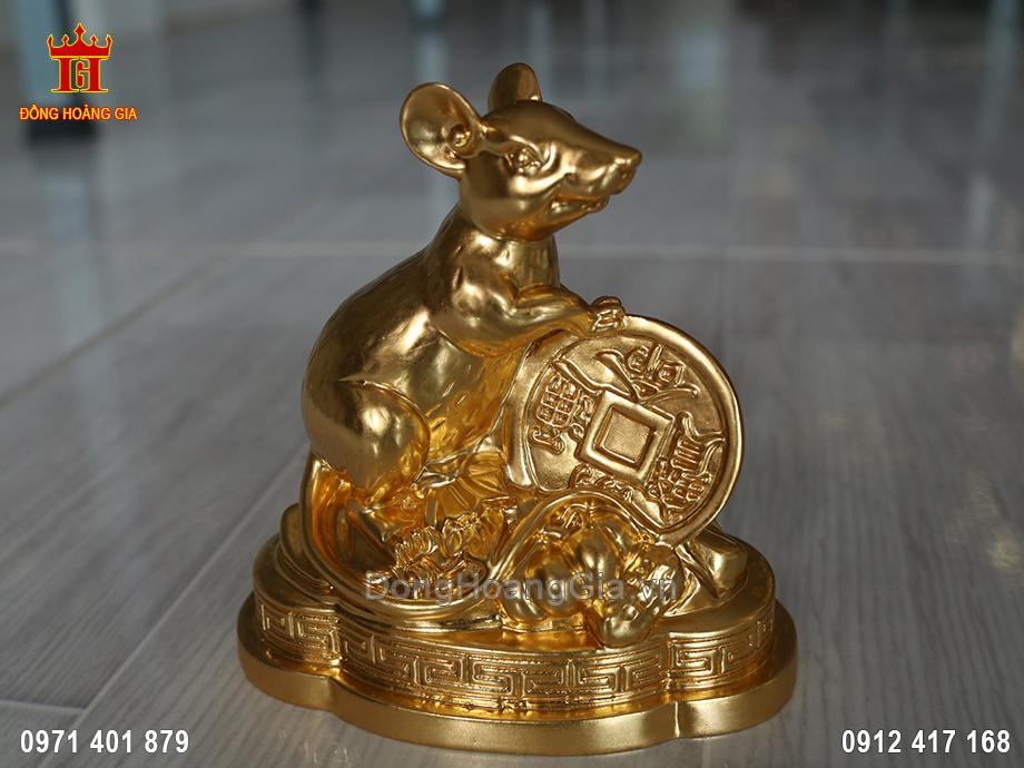 Tượng chuột phong thủy đồng vàng