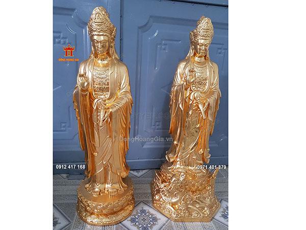 Tượng đồng Phật Bà Quan Âm dáng đứng dát vàng 9999