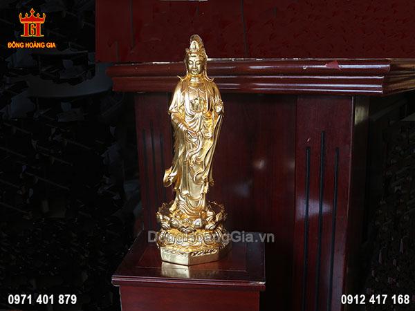Tượng đồng Phật Bà Quan Âm dát vàng 24K