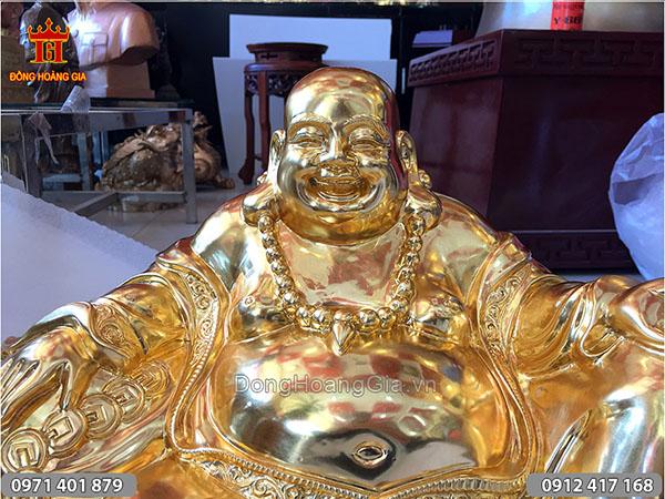 Tượng đồng Phật Di Lặc dáng ngồi dát vàng 50cm