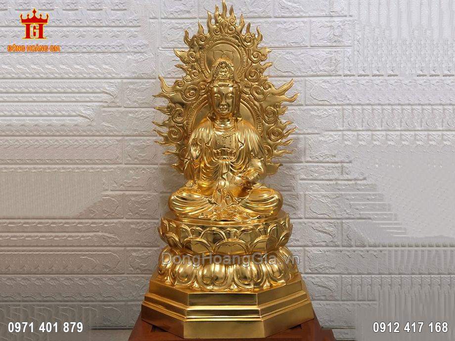 Tượng Đồng Quan Thế Âm Bồ Tát Dát Vàng 9999 67Cm