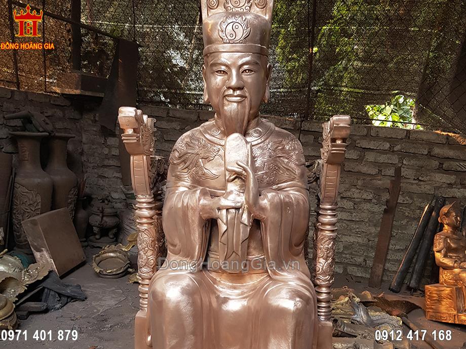 Tượng Đức Thánh Trần ngồi đồng đỏ đẹp
