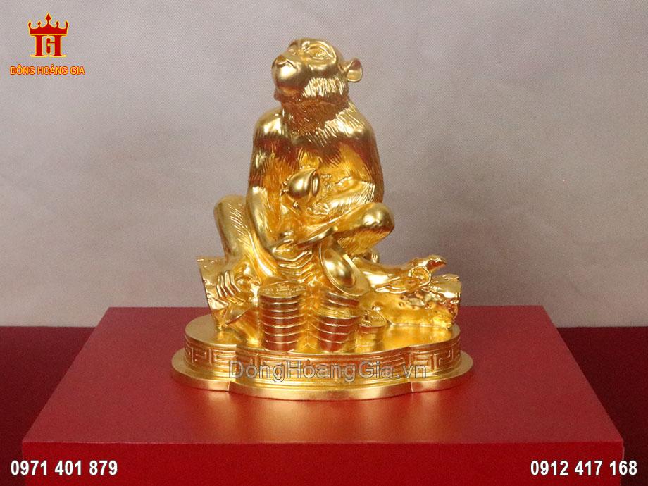 Tượng khỉ phong thủy bằng đồng dát vàng 24K