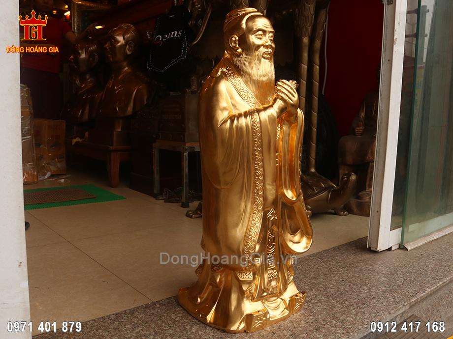 Tượng đồng Khổng Tử dát vàng 24K