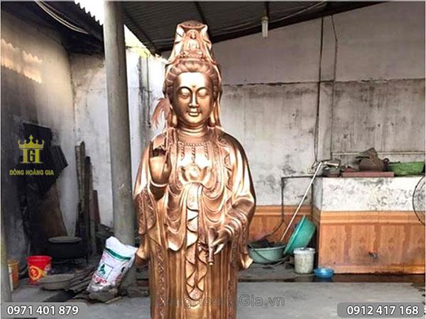 Tượng đồng Phật Bà Quan Âm dáng đứng