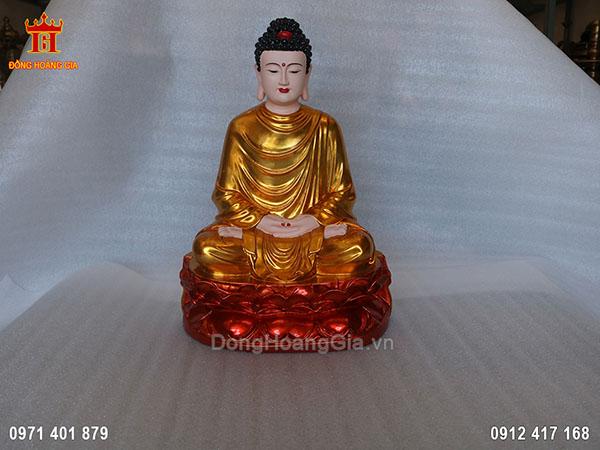 Tượng Phật Thích Ca Mâu Ni đồng đỏ sơn son thiếp vàng cực đẹp