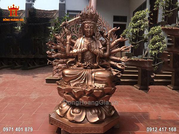Tượng Phật Chuẩn Đề Đồng Đỏ 1M6