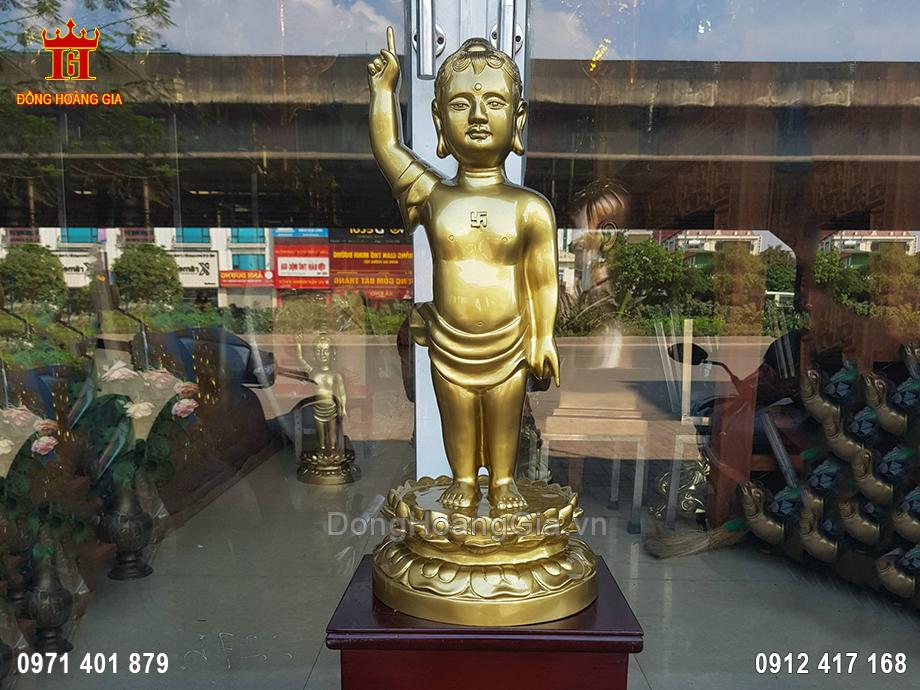 Tượng Phật Đản Sanh Bằng Đồng Vàng Nguyên Chất 57Cm