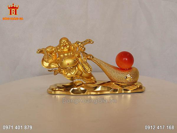 Tượng Phật Di Lặc kéo bao tiền gắn đá dát vàng 24K
