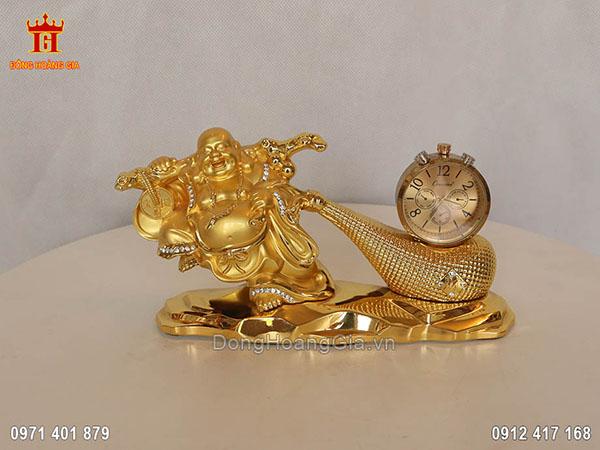 Tượng Phật Di Lặc kéo bao tiền gắn đồng hồ dát vàng 24K