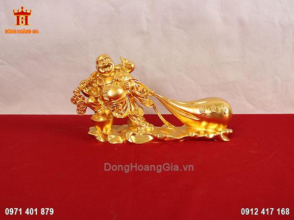 Tượng đồng Phật Di Lặc kéo bao tiền dát vàng 24K
