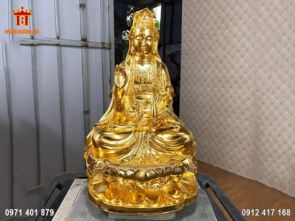 Tượng Phật Quan Âm Bằng Đồng Thếp Vàng
