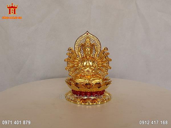 Tượng Phật nghìn mắt nghìn tay bằng đồng vàng dát vàng 24K