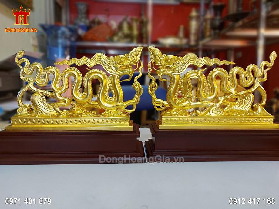 Tượng Rồng Thời Lý Bằng Đồng Dát Vàng 9999