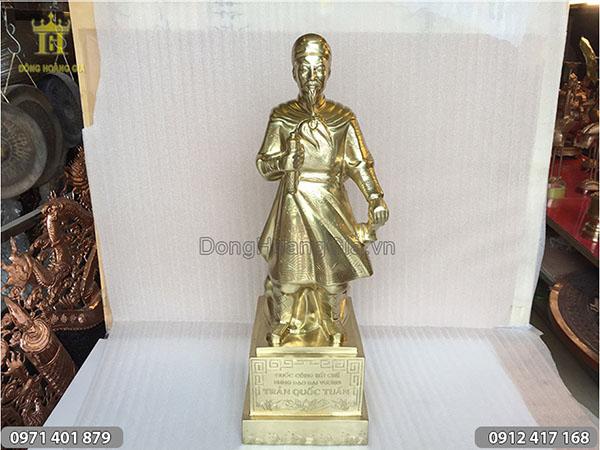Tượng Trần Hưng Đạo đồng vàng 70cm